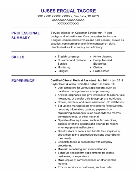 Certified Clinical Medical Assistant resume example Texas