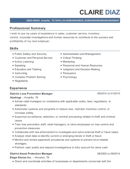 District Loss Prevention Manager resume template Texas