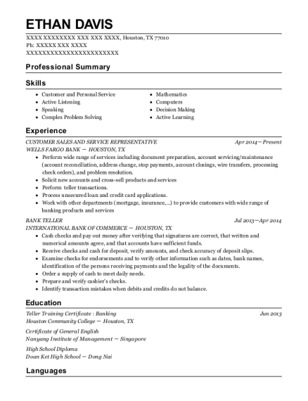 CUSTOMER SALES AND SERVICE REPRESENTATIVE resume example Texas