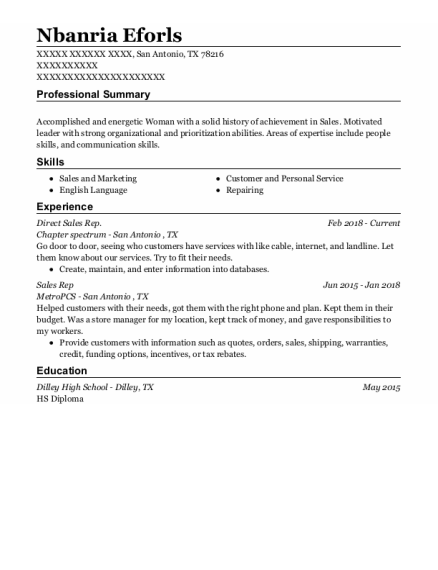 Direct Sales Representative resume format Texas