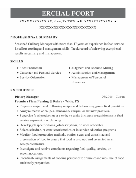Dietary Manager resume format Texas