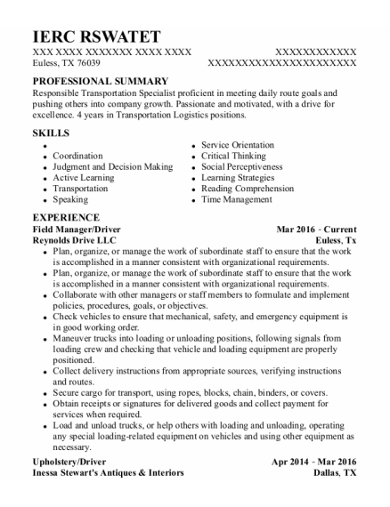 Field Manager resume template Texas