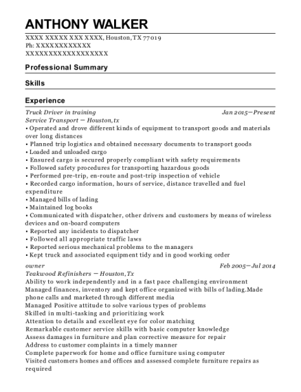 Truck Driver in training resume sample Texas