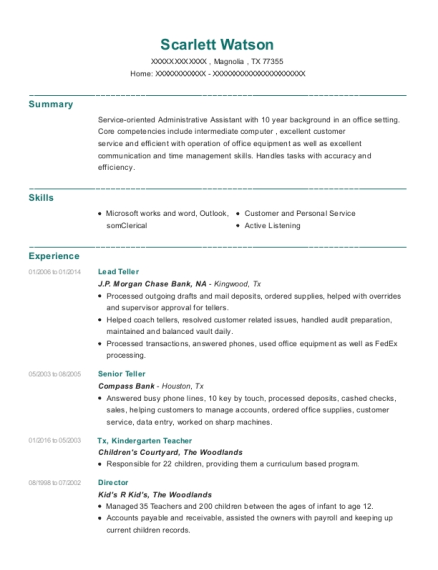 Lead Teller resume template Texas