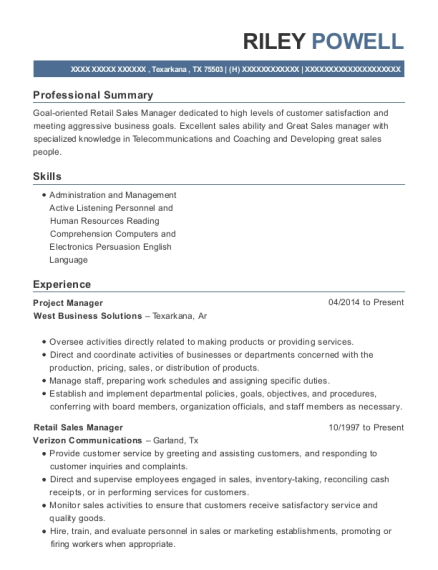 Project Manager resume sample Texas