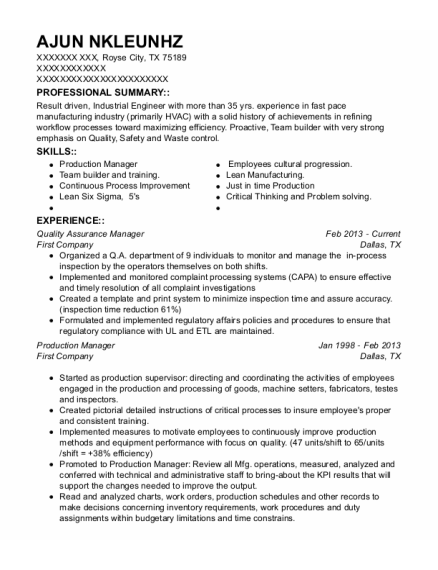 Quality Assurance Manager resume sample Texas