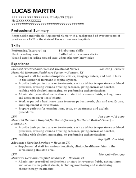 Licensed Practical and Licensed Vocational Nurses resume example Texas
