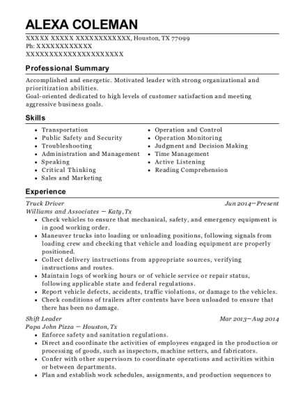 Truck Driver resume template Texas