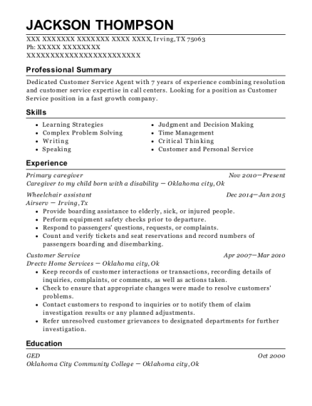 Primary caregiver resume example Texas