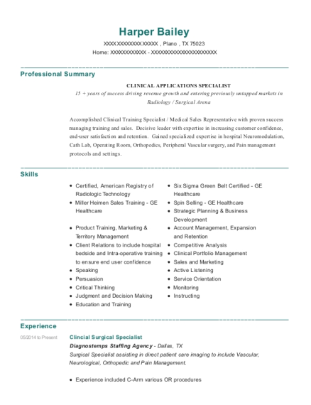 Clincial Surgical Specialist resume example Texas