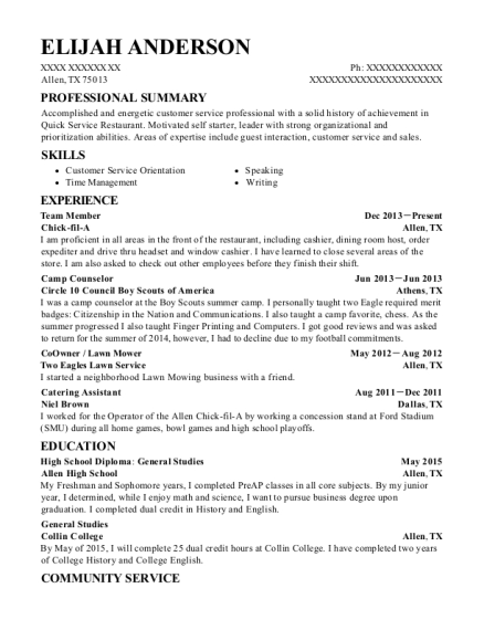 Team Member resume sample Texas
