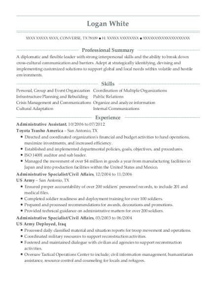 Administrative Assistant resume format Texas