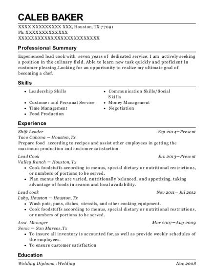 Shift Leader resume format Texas