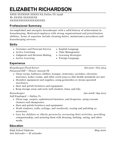 Housekeeper resume example Texas