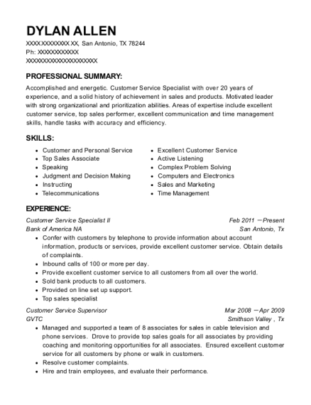 Customer Service Specialist II resume example Texas