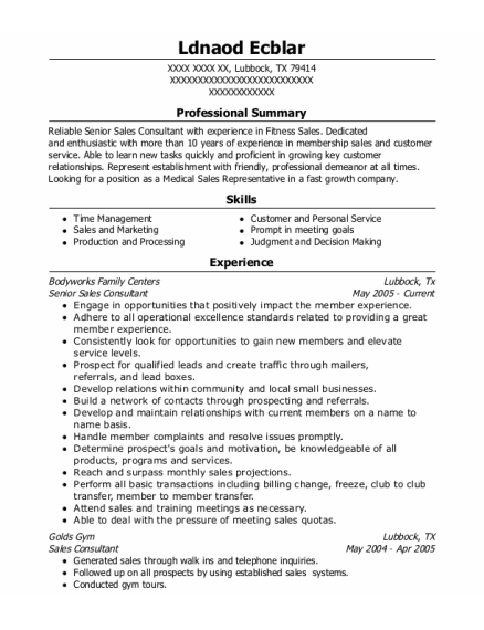 Senior Sales Consultant resume sample Texas