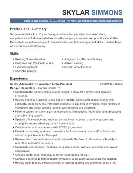 Senior Administrative Assistant to the Principal resume example Texas