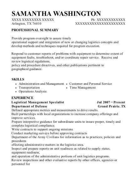 Logistical Management Specialist resume sample Texas