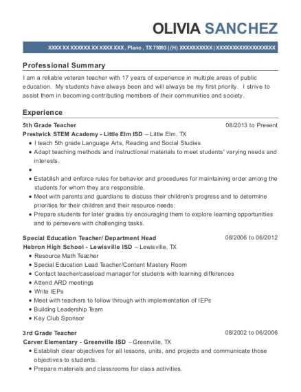 5th Grade Teacher resume format Texas