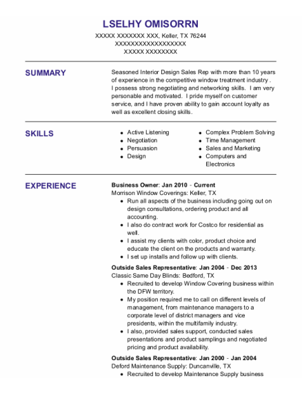Business Owner resume format Texas