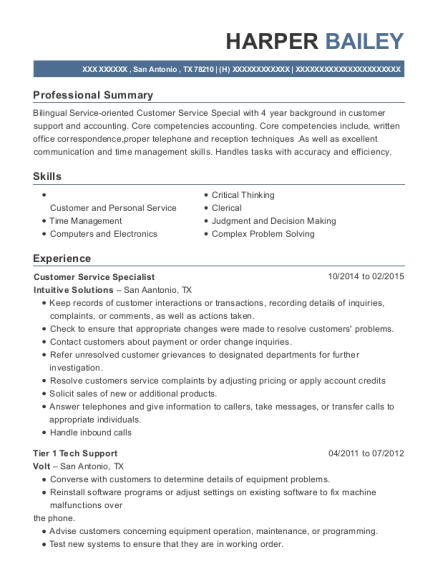 Customer Service Specialist resume format Texas