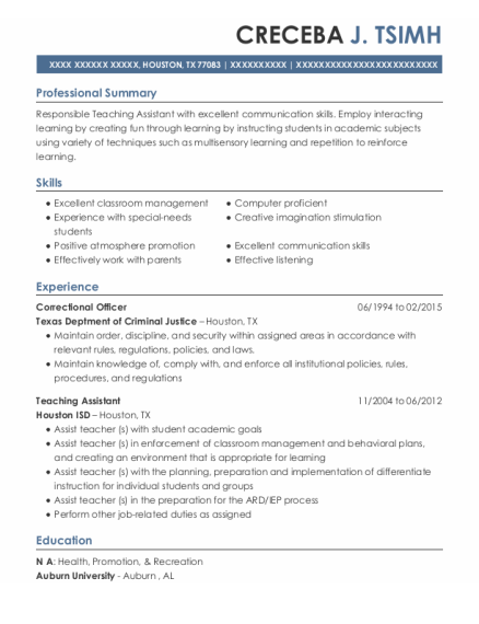 Correctional Officer resume example Texas