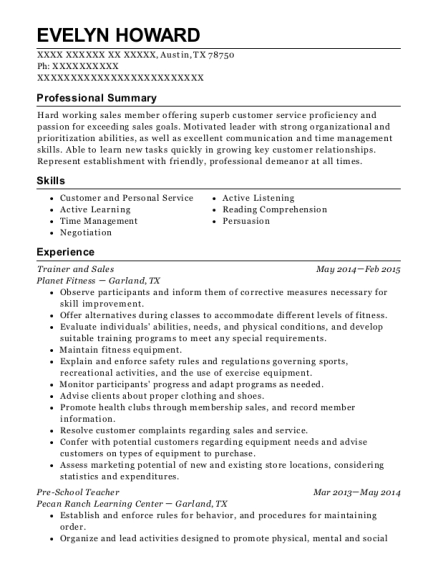 Trainer and Sales resume template Texas