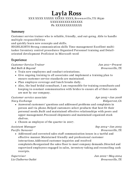 Customer Service Trainer resume example Texas
