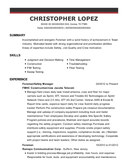 Foreman resume example Texas