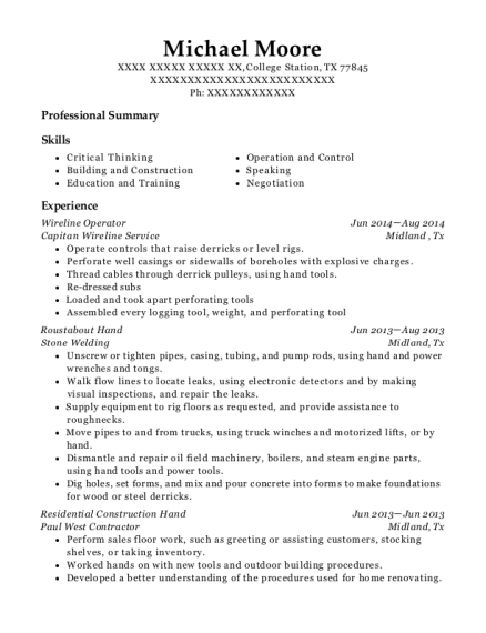 Wireline Operator resume template Texas