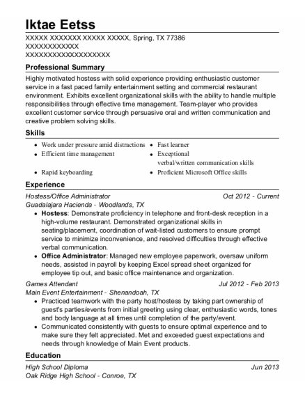 Hostess resume sample Texas