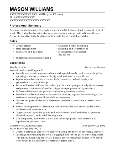 Teachers Aide resume example Texas