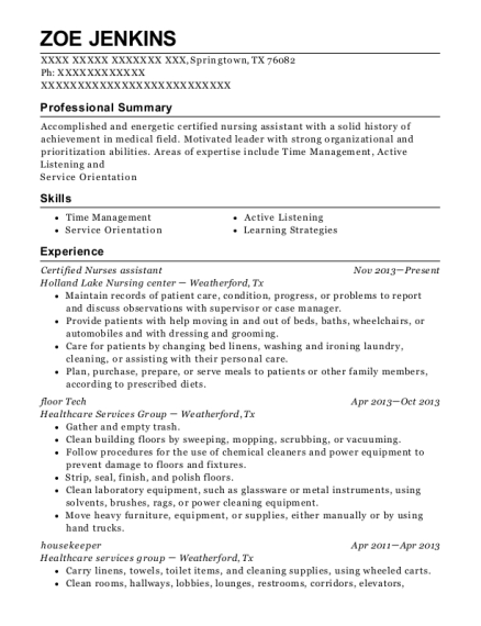 Certified Nurses assistant resume example Texas