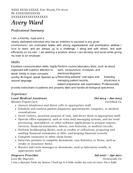 Lead Medical Assistant resume sample Texas