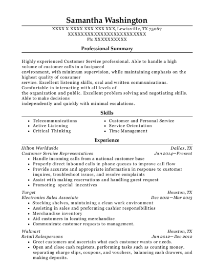 Customer Service Representatives resume template Texas