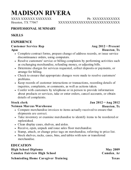 Customer Service Rep resume example Texas