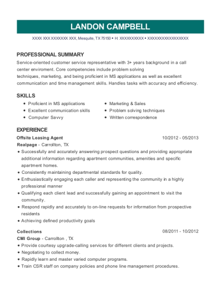 Offsite Leasing Agent resume template Texas
