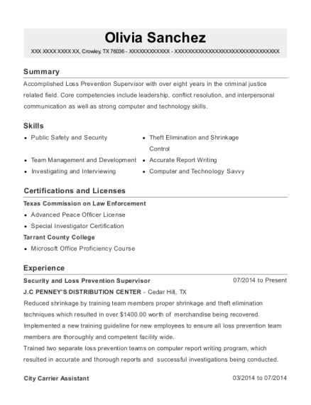 Security and Loss Prevention Supervisor resume format Texas
