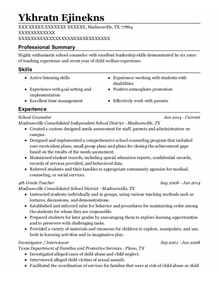 School Counselor resume sample Texas