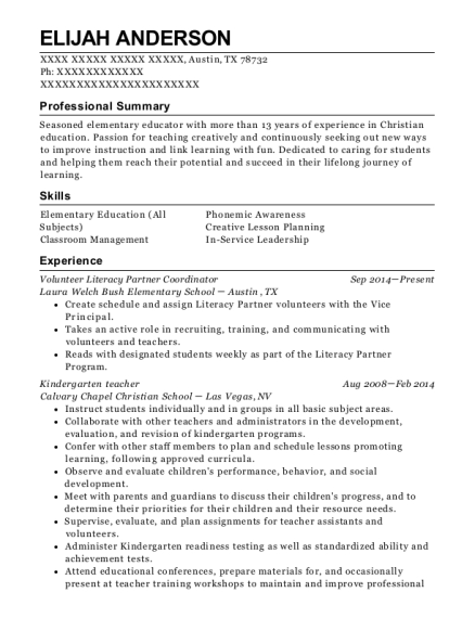 Volunteer Literacy Partner Coordinator resume template Texas