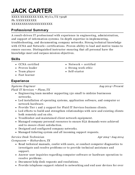 Systems Engineer resume format Texas