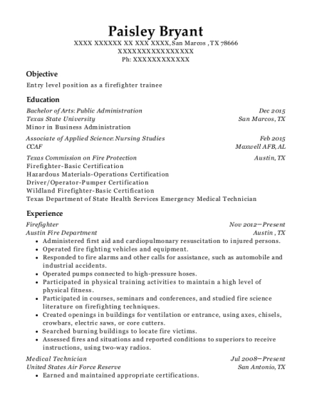 Firefighter resume template Texas
