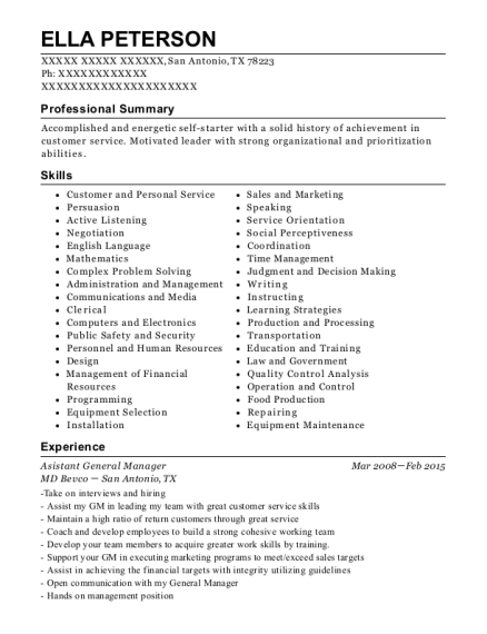 Asistant General Manager resume template Texas