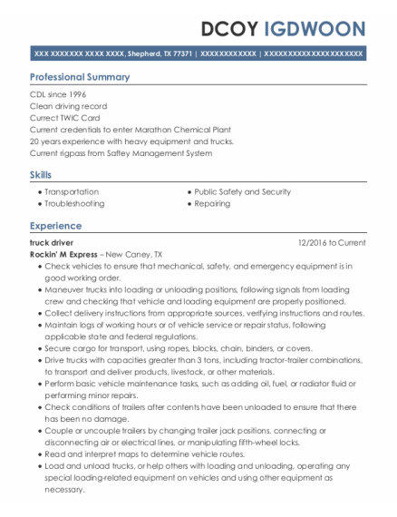Truck Driver resume example Texas
