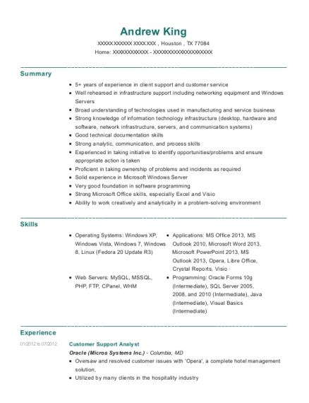 Customer Support Analyst resume format Texas