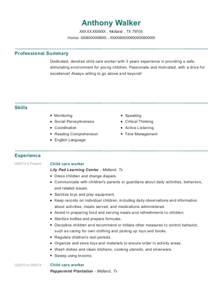 Child care worker resume example Texas