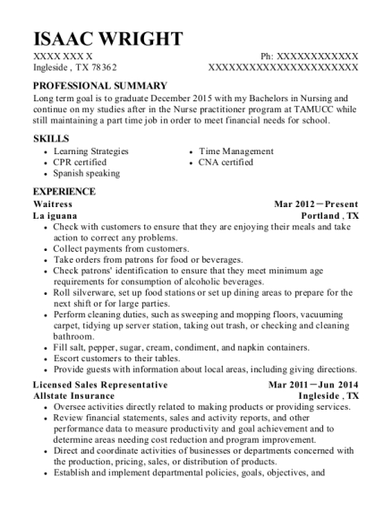 Waitress resume format Texas