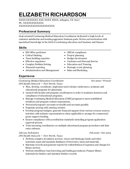 Continuing Medical Education Coordinator resume sample Texas