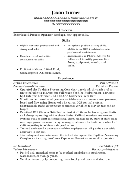 Process Control Operator resume template Texas