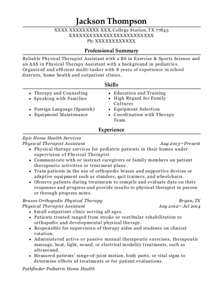 Physical Therapist Assistant resume template Texas